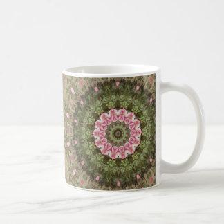 Floral Boho Ethnic Kaleidoscope, Pink Green Brown Coffee Mug