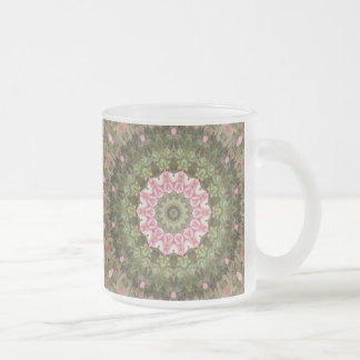 Floral Boho Ethnic Kaleidoscope, Pink Green Brown Frosted Glass Coffee Mug