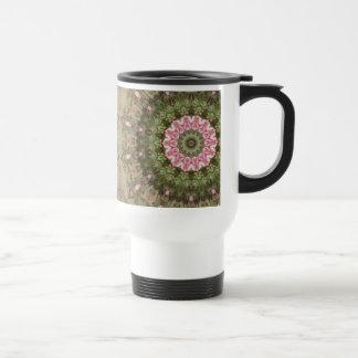 Floral Boho Ethnic Kaleidoscope, Pink Green Brown Travel Mug