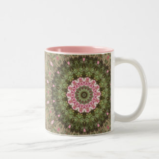 Floral Boho Ethnic Kaleidoscope, Pink Green Brown Two-Tone Coffee Mug