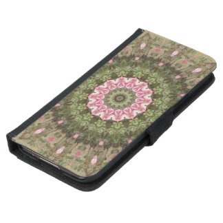 Floral Boho Kaleidoscope, Pink Green Brown Samsung Galaxy S5 Wallet Case