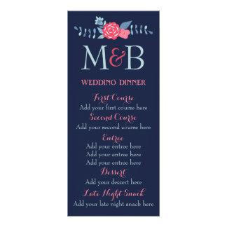 Floral boho navy wedding dinner menu template set rack cards