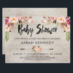 """Floral Boho Rustic Baby Shower Invitation<br><div class=""""desc"""">Looking for a floral boho or tribal baby shower invitation? This design features three floral arrangements and two arrows on a watercolor wood grain background. I&#39;ve also added some modern brush calligraphy text for the heading. This design is rustic but elegant at the same time. It&#39;s suitable for someone who...</div>"""