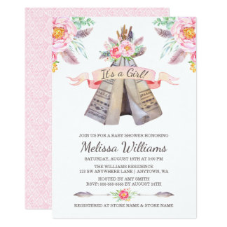 floral boho tribal teepee girl baby shower card