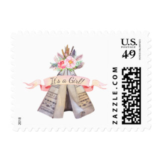 Floral Boho Tribal Teepee Girl Baby Shower Postage
