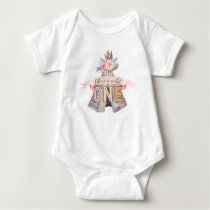 Floral Boho Tribal Teepee Wild One 1st Birthday Baby Bodysuit