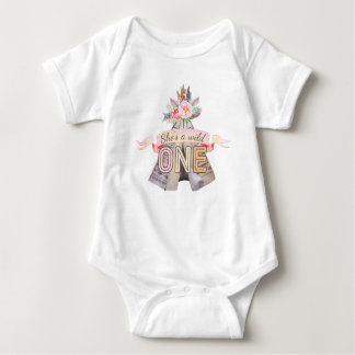 Floral Boho Tribal Teepee Wild One 1st Birthday Baby Bodysuit
