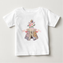 Floral Boho Tribal Teepee Wild One 1st Birthday Baby T-Shirt