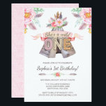 """Floral Boho Tribal Teepee Wild One 1st Birthday Card<br><div class=""""desc"""">Tribal Teepee girl first birthday party invitations with watercolor flowers,  feathers,  arrows and teepee. This feminine design is perfect for a rustic boho 1st birthday theme.</div>"""