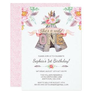 Floral Boho Tribal Teepee Wild One 1st Birthday Card