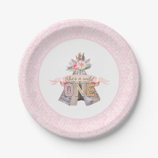 Floral Boho Tribal Teepee Wild One 1st Birthday Paper Plate at Zazzle