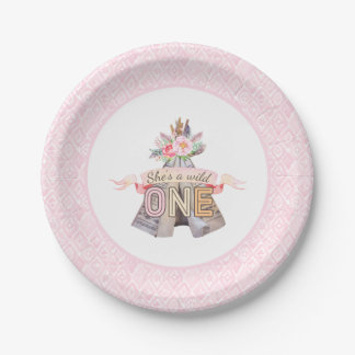 Floral Boho Tribal Teepee Wild One 1st Birthday Paper Plate
