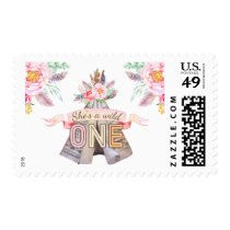 Floral Boho Tribal Teepee Wild One 1st Birthday Postage