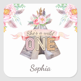 Floral Boho Tribal Teepee Wild One 1st Birthday Square Sticker