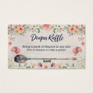 Floral Boho Watercolor Tribal Diaper Raffle Ticket