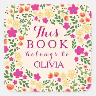 Floral bonito colorido este libro pertenece los pegatina cuadrada
