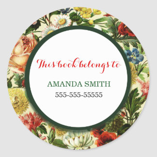 Floral book marker country wildflowers classic round sticker