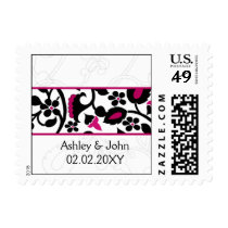 floral border black and fuchsia pink Wedding Postage