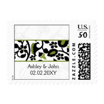 floral border black and green Wedding Postage