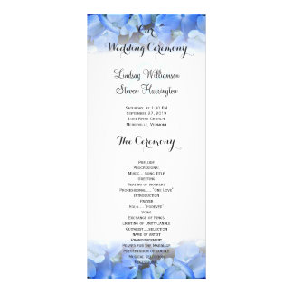 Floral Border Blue Hydrangea Wedding Tall Program