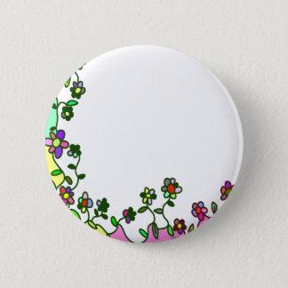 floral border Cartoon flower doodle Pinback Button