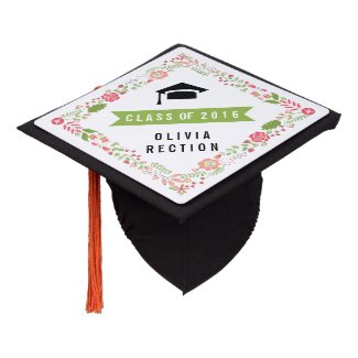 Floral border coral, pink, green Class of 2016 Graduation Cap Topper