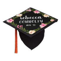 Floral Border   Custom Name and Class Year Graduation Cap Topper