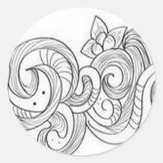 Floral border design classic round sticker