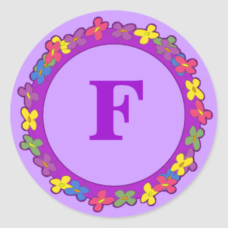 Floral Border Monogram Stickers