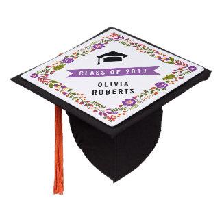 Floral border purple, orange, green Class of 2017 Graduation Cap Topper