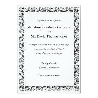 "Floral border ""Together with"" wedding invitation"