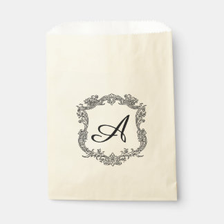 Floral Border with Monogram Favor Bags