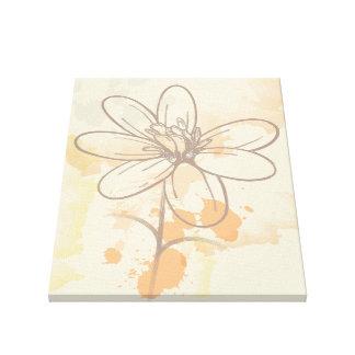 Floral bosquejada en la acuarela Splats Impresión En Lona