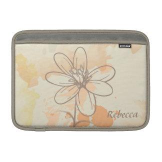 Floral bosquejada personalizada en la acuarela fundas macbook air