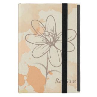 Floral bosquejada personalizada en la acuarela iPad mini fundas