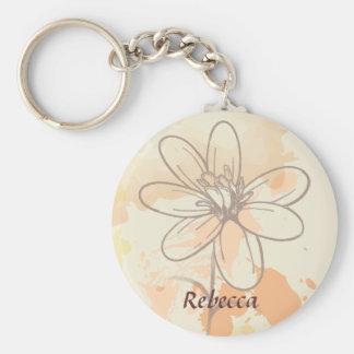 Floral bosquejada personalizada en la acuarela llavero redondo tipo pin