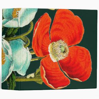 Floral Botanical Poppy Flowers Avery Binder