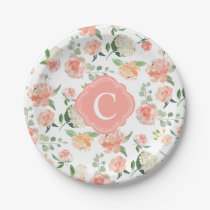 Floral Botanical Print with Your Monogram Paper Plate