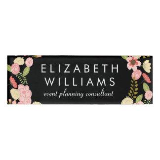 Floral botánico colorido etiqueta con nombre