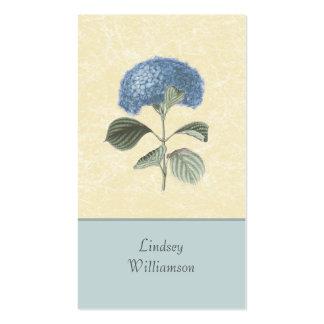 Floral botánico del Hydrangea azul del vintage Tarjetas De Visita