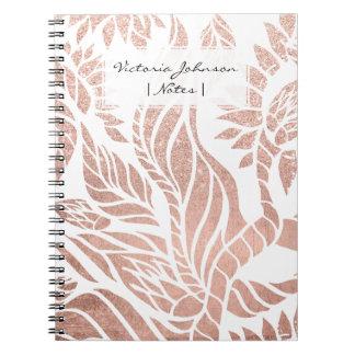 Floral botánico del oro color de rosa geométrico libro de apuntes