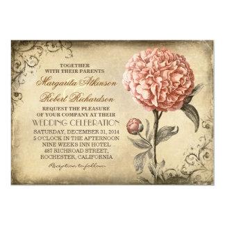 """floral botánico del vintage - boda rosado del invitación 5"""" x 7"""""""