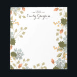 "Floral Bounty Personalized Social Stationery Notepad<br><div class=""desc"">An abundance of flowers,  berries and leaves adorns this pretty personalized notepad in soft shades of apricot,  pumpkin,  olive and dusty blue. Customized with your text and name.</div>"