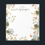 """Floral Bounty Personalized Social Stationery Notepad<br><div class=""""desc"""">An abundance of flowers,  berries and leaves adorns this pretty personalized notepad in soft shades of apricot,  pumpkin,  olive and dusty blue. Customized with your text and name.</div>"""