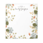 Floral Bounty Personalized Social Stationery Notepad<br><div class='desc'>An abundance of flowers,  berries and leaves adorns this pretty personalized notepad in soft shades of apricot,  pumpkin,  olive and dusty blue. Customized with your text and name.</div>