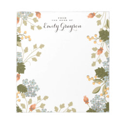 Floral Bounty Personalized Social Stationery Notepad