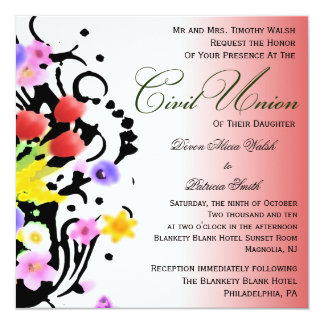 Civil union invitations announcements zazzle floral bouquet civil union invitation stopboris Image collections