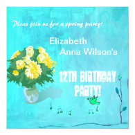 Floral bouquet girl's birthday party announcements