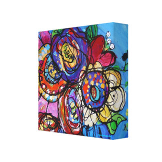 Floral Bouquet in Pinks, Purples, Blues, Reds Canvas Print