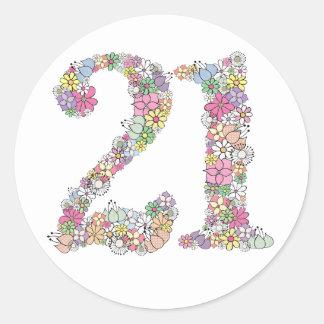 Floral Bouquet Number 21 Label Sticker Seal